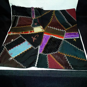 SALE! Old Crazy Quilt Hand Stitched Pillow Cover